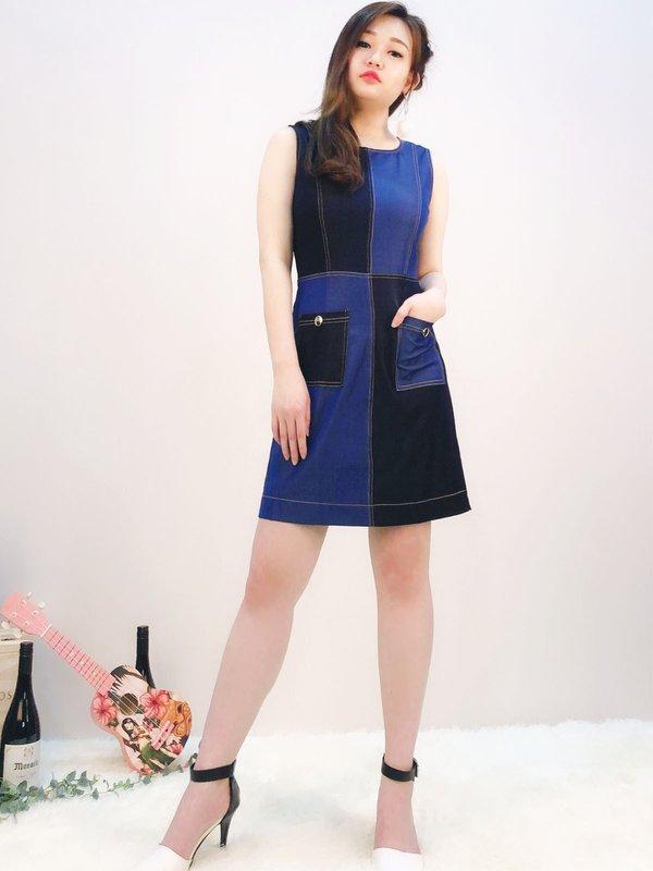 TWO TONES SLEEVELESS DRESS (DENIM BLUE)