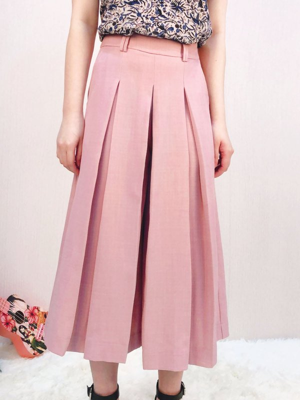 PLEATED WIDE LEG PANTS (CHAMPAGNE PINK)
