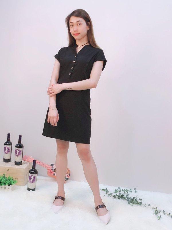 BUTTERFLY SHORT SLEEVE DRESS (BLACK)
