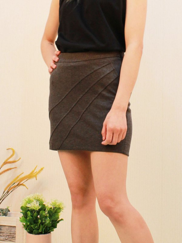 LINE WRAP SKIRT (DARK HUE GREY)
