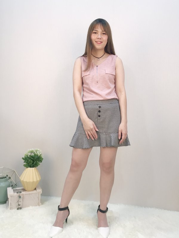 SLEEVELESS ZIP UP BLOUSE (CHAMPAGNE PINK)