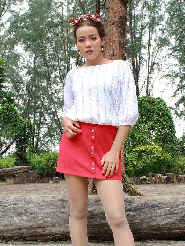 BUTTON DOWN SKIRT (RED)