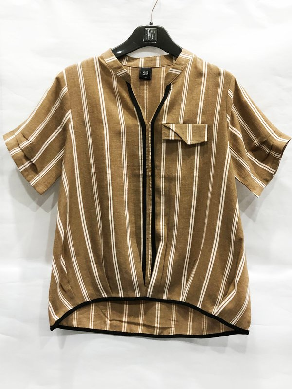 WHITE LINE BLOUSE (BROWN)
