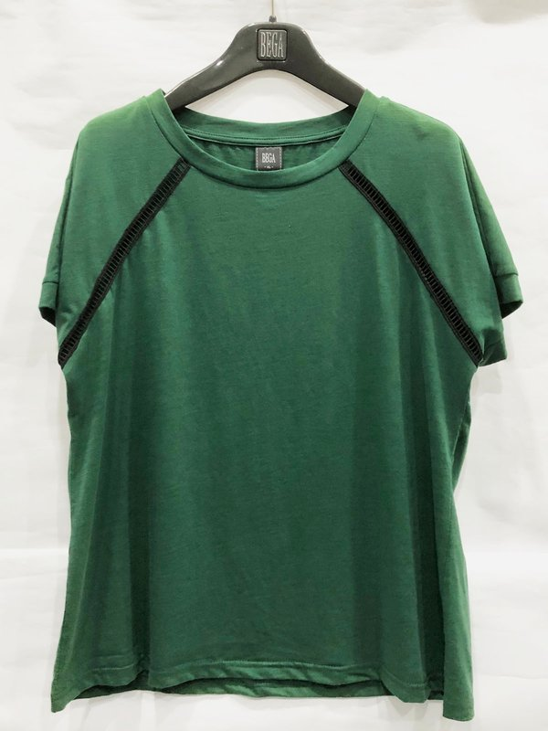 SIMPLE BLACK LINE T-SHIRT (DARK GREEN)