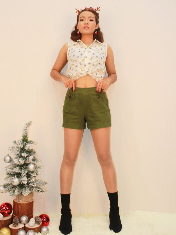 LISS BUTTON SHORTS (OLIVE)