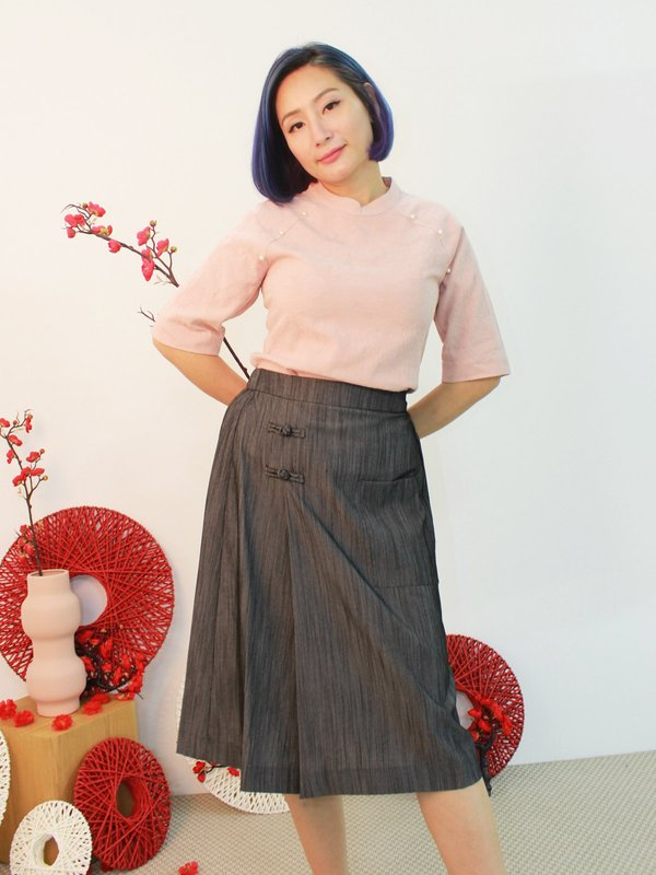 CHINESE KNOT MIDI SKIRT (HUE GREY)