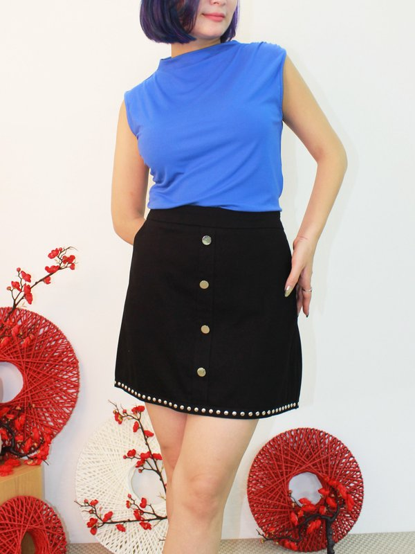 PAMELA RIVET HEM SKIRT (BLACK)