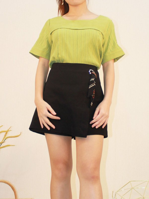 TWO LAYER TEXTURE TOP (NEON GREEN)
