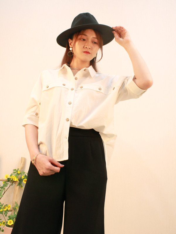 SULLIVAN BUTTON BLOUSE (CREAM)