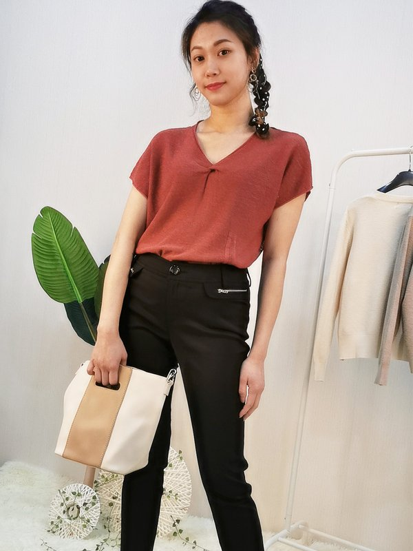 KNIT SHORT-SLEEVED SOFT TOP (RUSTIC RED)
