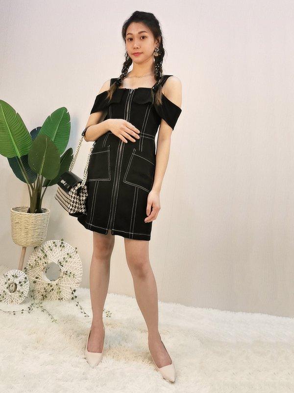 TWO WAY SHOULDER DRESS (BLACK)
