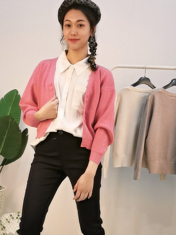 LOOSE SHORT SWEATER KNITTED CARDIGAN (PINK)