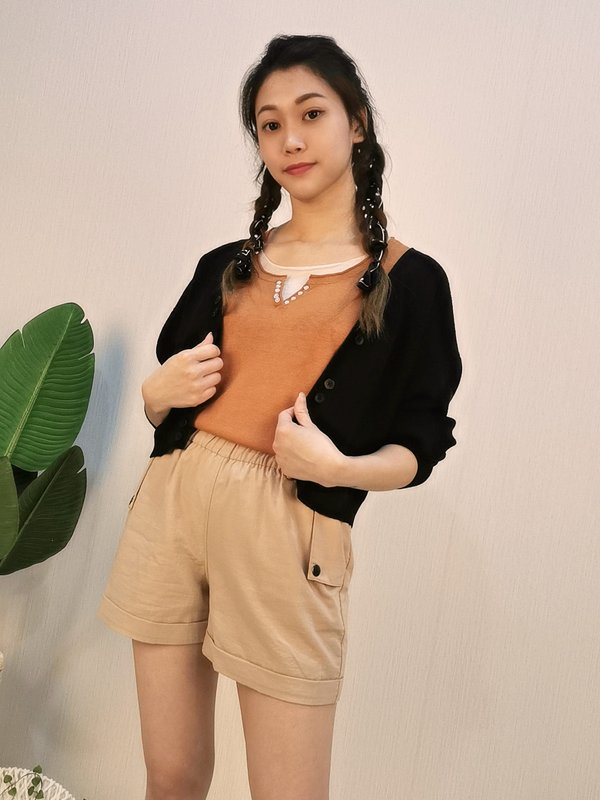 LOOSE SHORT SWEATER KNITTED CARDIGAN (BLACK)
