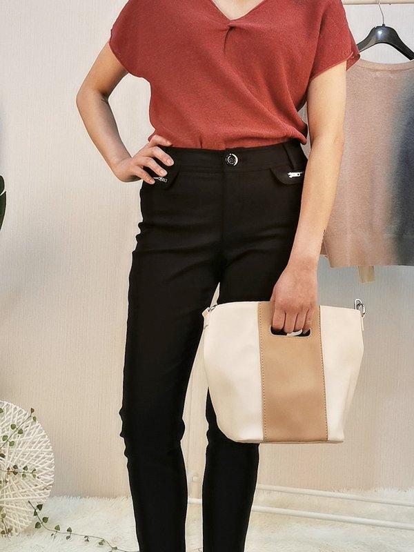 ZIPPER CHAIN LONG PANTS (BLACK)
