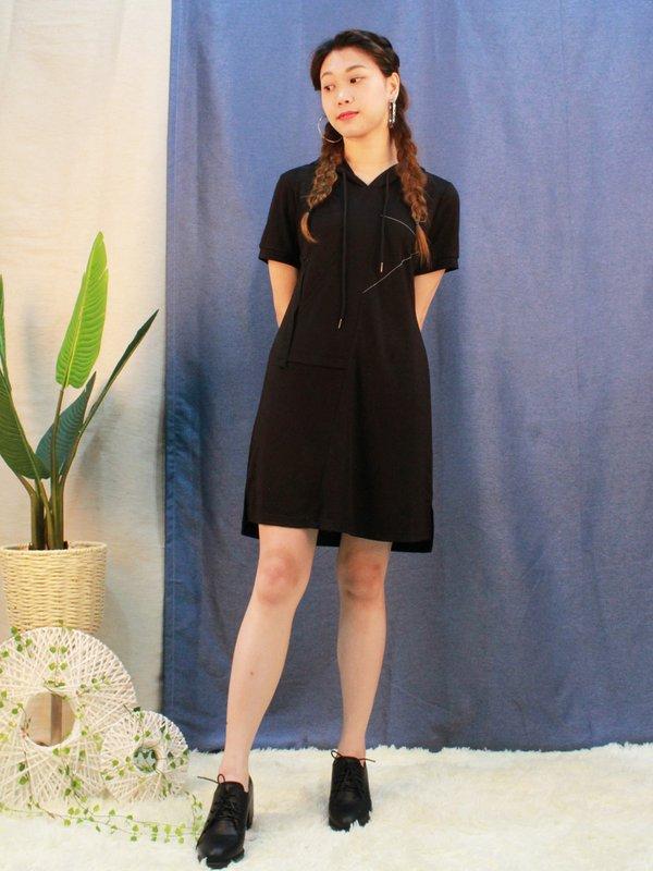 HOODIE T-SHIRT DRESS (BLACK)