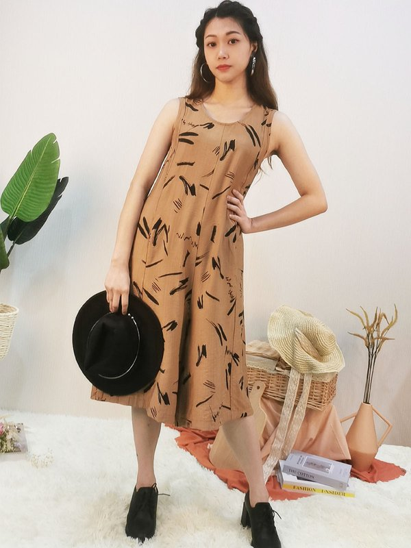 BRAX ABSTRACT JUMPSUIT (BROWN)