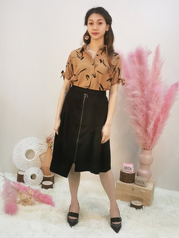 BRAX ABSTRACT BLOUSE (BROWN)