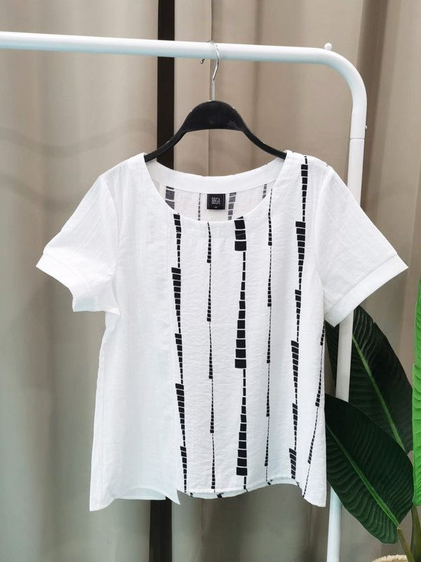 SIDE ABSTRACT BLOUSE (CREAM)
