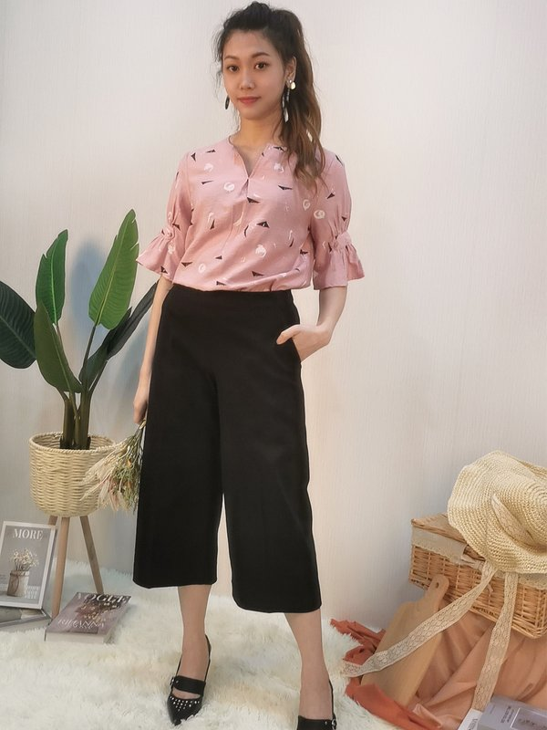 CONNA ABSTRACT BLOUSE (CHAMPAGNE PINK)