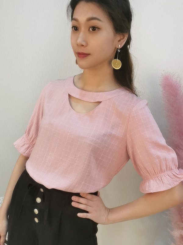 GILES THREE QUATER SLEEVE BLOUSE (CHAMPAGNE PINK)