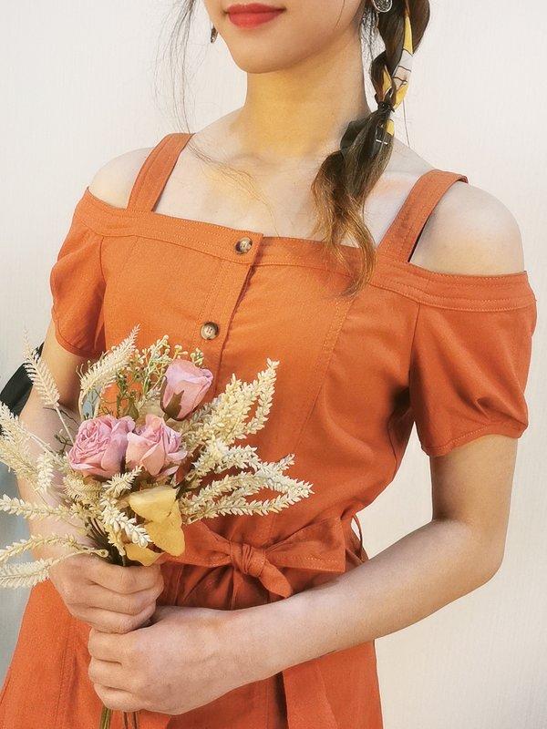 FENELLA TYLER DROP SHOULDER DRESS (RUSTIC RED)