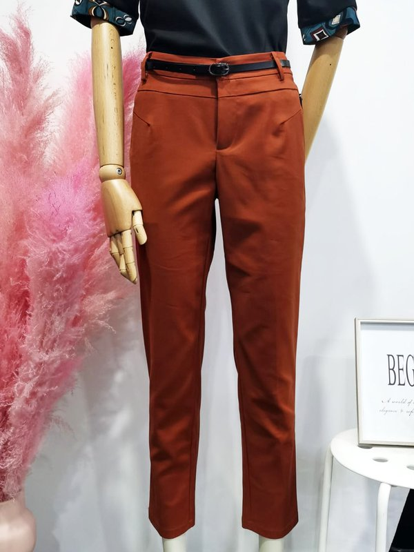 BUTTON BASIC PANTS (RUSTIC BROWN)