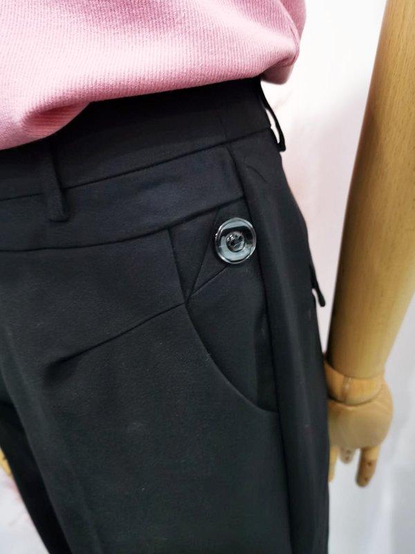 BUTTON BASIC PANTS (BLACK)